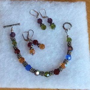 Jewelry - Swarovski crystal bracelet & earrings. Multi color